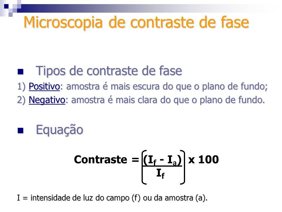 Tipos de contraste de fase Tipos de contraste de fase 1) Positivo: amostra é mais escura do que o plano de fundo; 2) Negativo: amostra é mais clara do