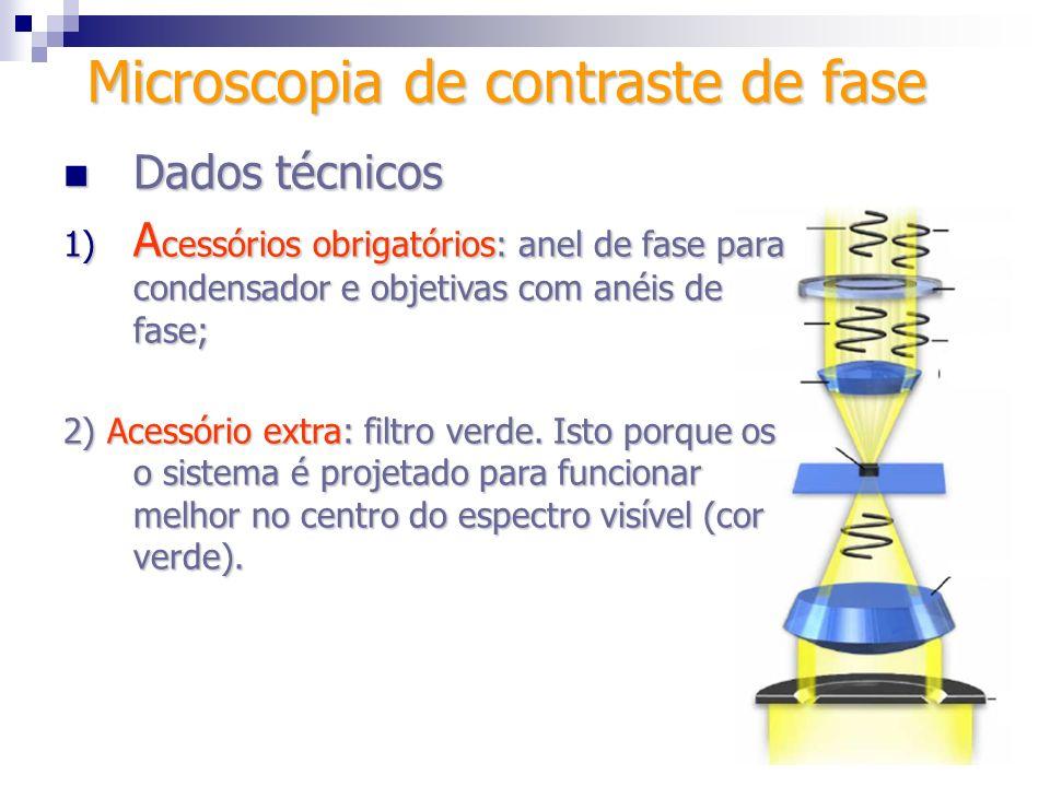 Microscopia de contraste de fase Dados técnicos Dados técnicos 1) A cessórios obrigatórios: anel de fase para condensador e objetivas com anéis de fas