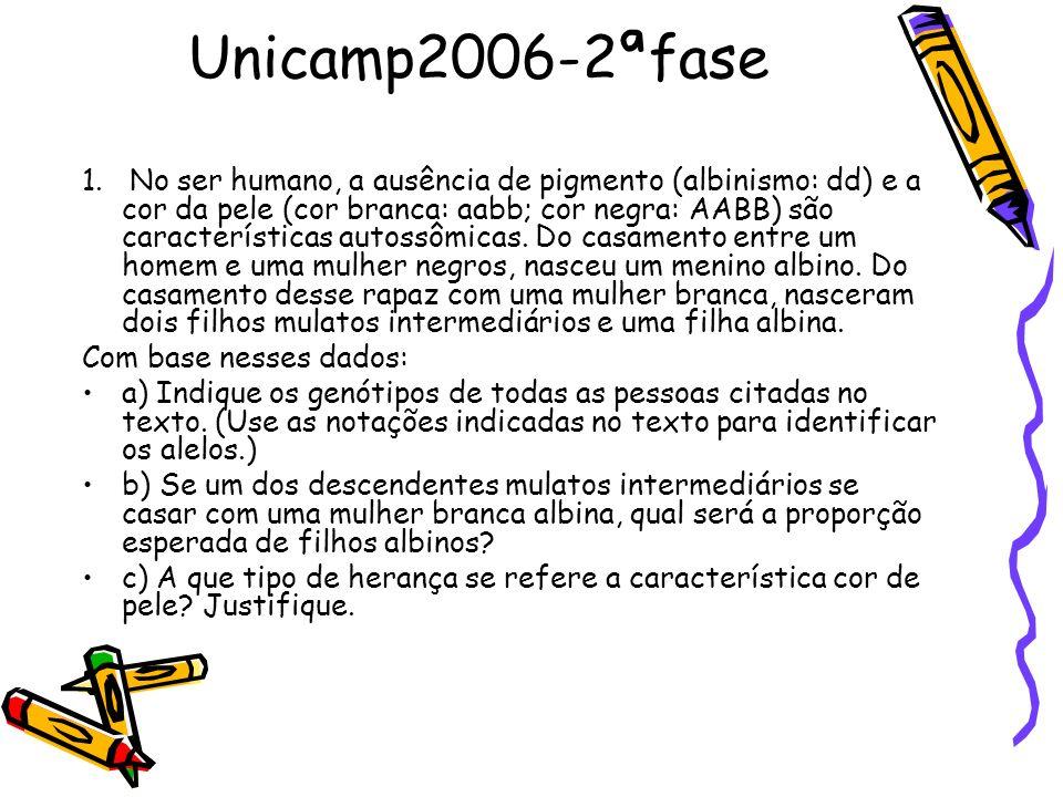 Unicamp2006-2ªfase 1. No ser humano, a ausência de pigmento (albinismo: dd) e a cor da pele (cor branca: aabb; cor negra: AABB) são características au