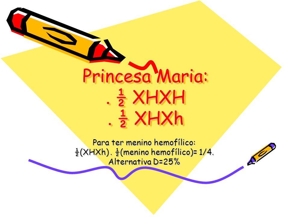 Princesa Maria:. ½ XHXH. ½ XHXh Para ter menino hemofílico: ½(XHXh). ½(menino hemofílico)= 1/4. Alternativa D=25%