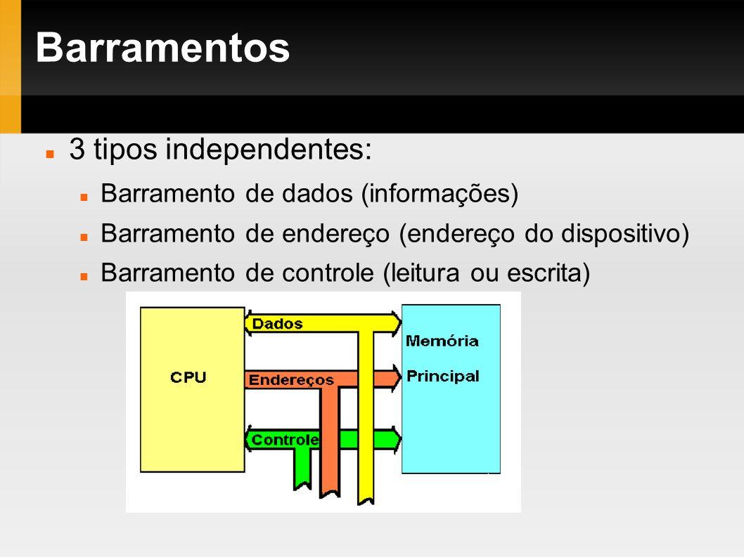 Barramentos 3 tipos independentes: Barramento de dados (informações) Barramento de endereço (endereço do dispositivo) Barramento de controle (leitura