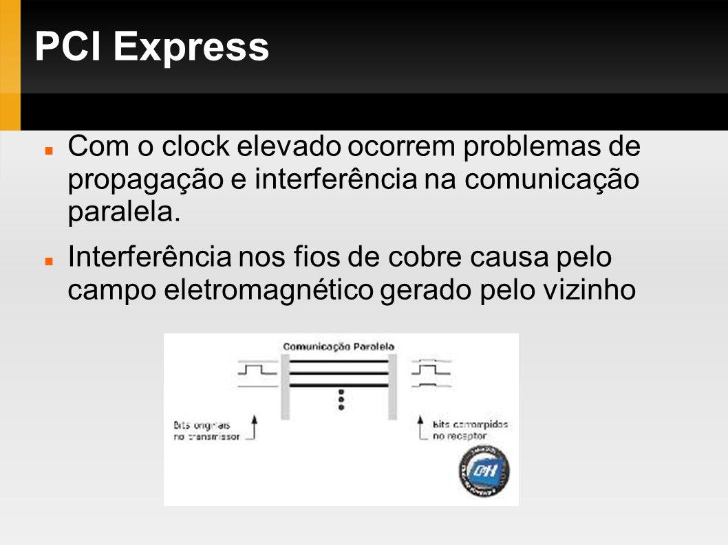 PCI Express Com o clock elevado ocorrem problemas de propagação e interferência na comunicação paralela. Interferência nos fios de cobre causa pelo ca