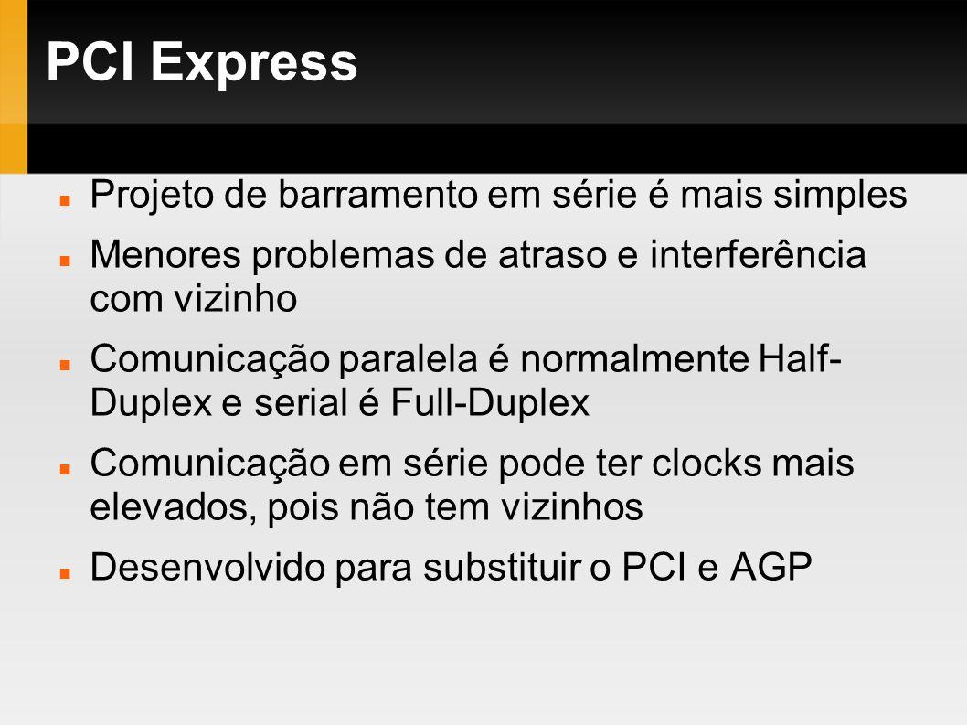 PCI Express Projeto de barramento em série é mais simples Menores problemas de atraso e interferência com vizinho Comunicação paralela é normalmente H