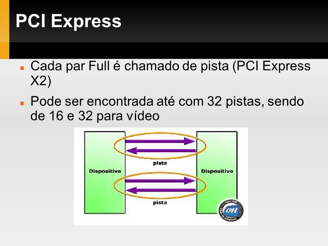 PCI Express Cada par Full é chamado de pista (PCI Express X2) Pode ser encontrada até com 32 pistas, sendo de 16 e 32 para vídeo
