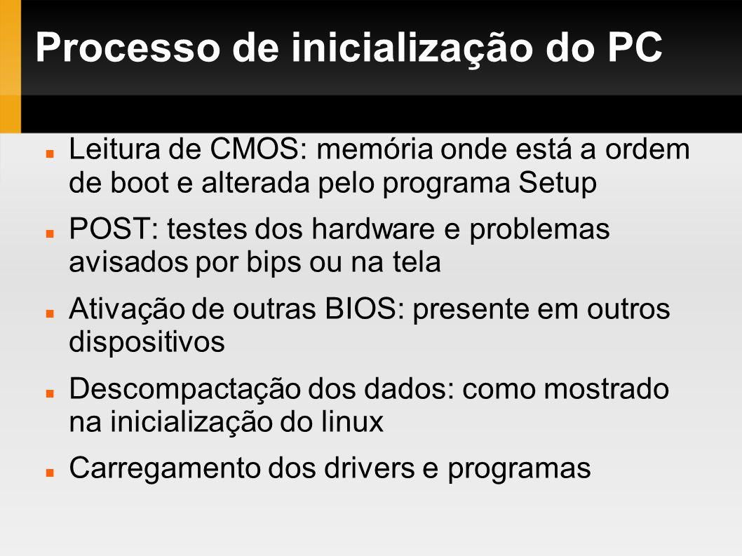 Processo de inicialização do PC Leitura de CMOS: memória onde está a ordem de boot e alterada pelo programa Setup POST: testes dos hardware e problema