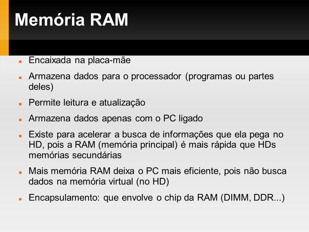 Memória RAM Encaixada na placa-mãe Armazena dados para o processador (programas ou partes deles) Permite leitura e atualização Armazena dados apenas c