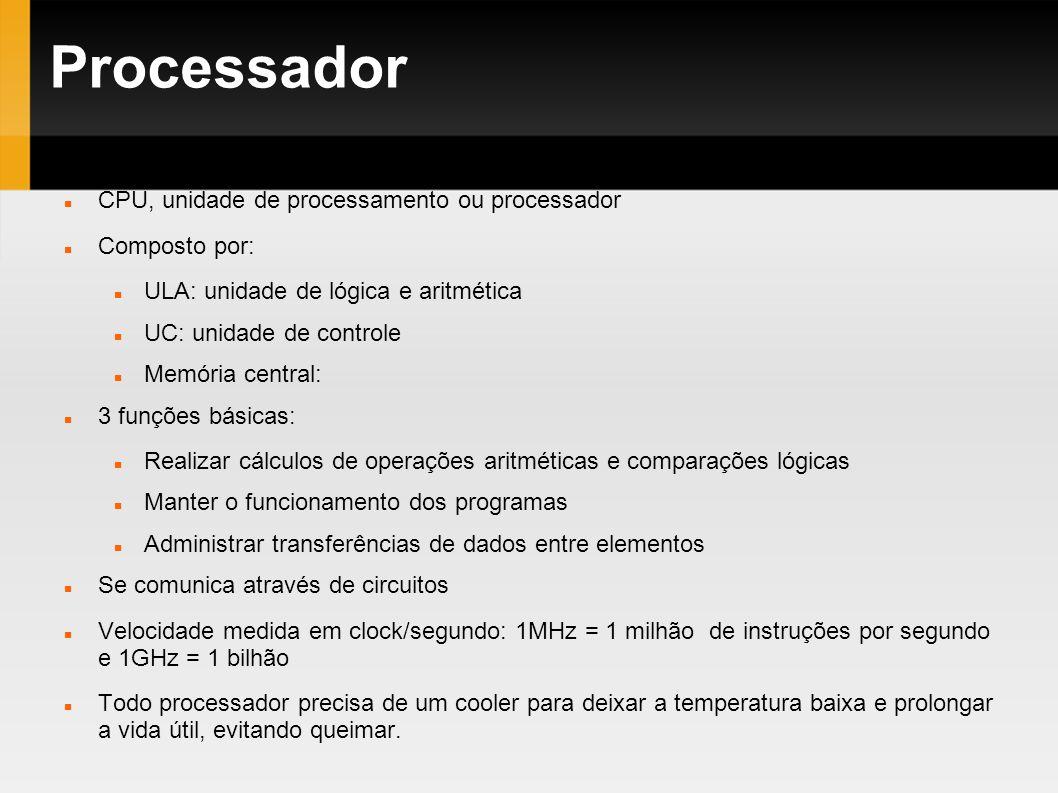 Processador CPU, unidade de processamento ou processador Composto por: ULA: unidade de lógica e aritmética UC: unidade de controle Memória central: 3