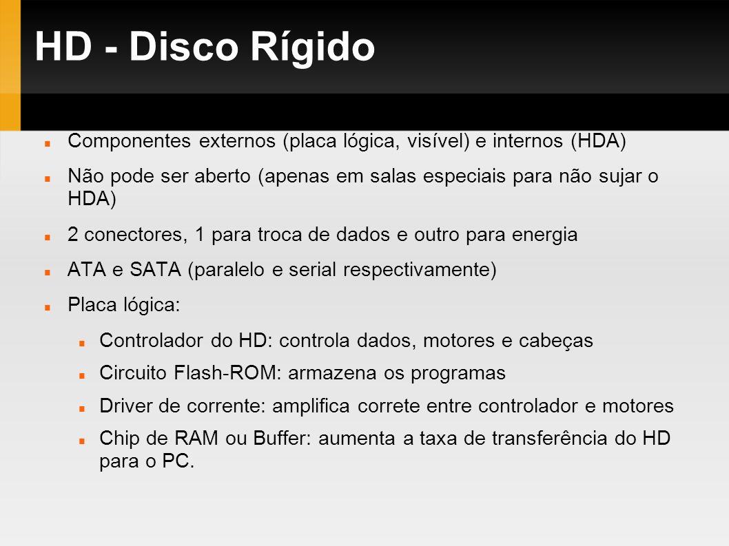 HD - Disco Rígido Componentes externos (placa lógica, visível) e internos (HDA) Não pode ser aberto (apenas em salas especiais para não sujar o HDA) 2
