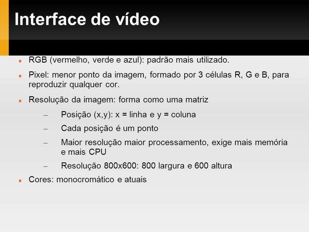 Interface de vídeo RGB (vermelho, verde e azul): padrão mais utilizado. Pixel: menor ponto da imagem, formado por 3 células R, G e B, para reproduzir