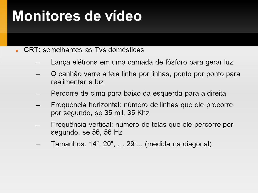 Monitores de vídeo CRT: semelhantes as Tvs domésticas – Lança elétrons em uma camada de fósforo para gerar luz – O canhão varre a tela linha por linha