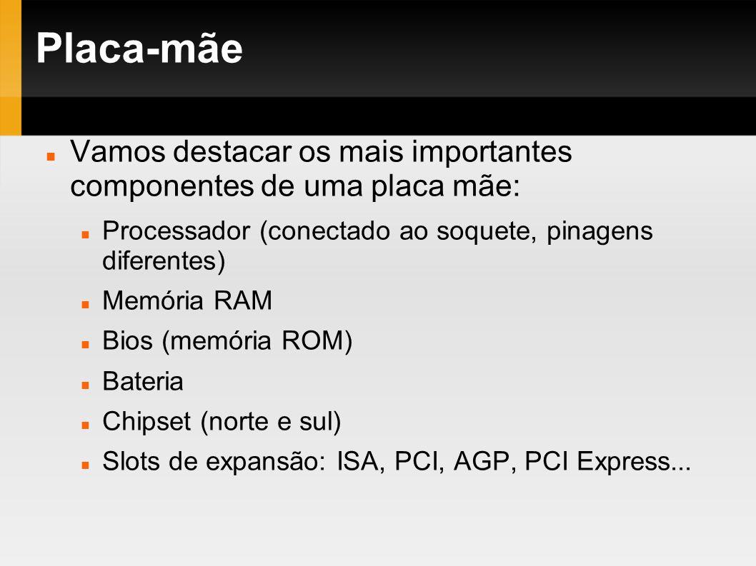 Placa-mãe Vamos destacar os mais importantes componentes de uma placa mãe: Processador (conectado ao soquete, pinagens diferentes) Memória RAM Bios (m
