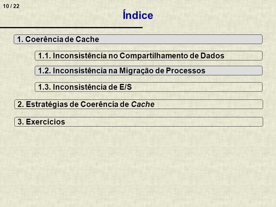 10 / 22 Índice 1. Coerência de Cache 2. Estratégias de Coerência de Cache 1.1. Inconsistência no Compartilhamento de Dados 1.2. Inconsistência na Migr