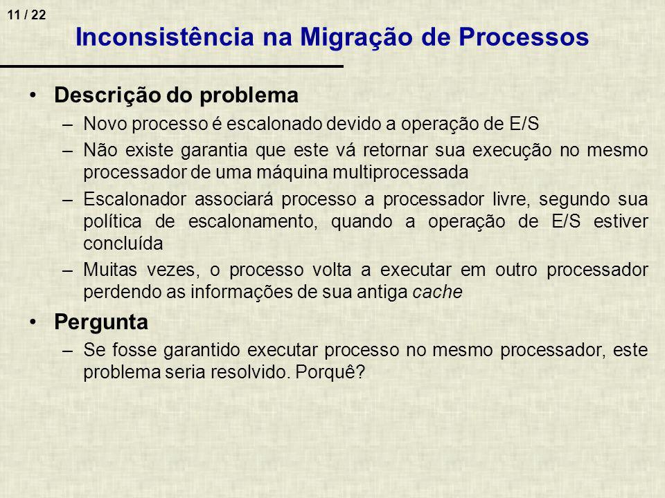 11 / 22 Descrição do problema –Novo processo é escalonado devido a operação de E/S –Não existe garantia que este vá retornar sua execução no mesmo pro