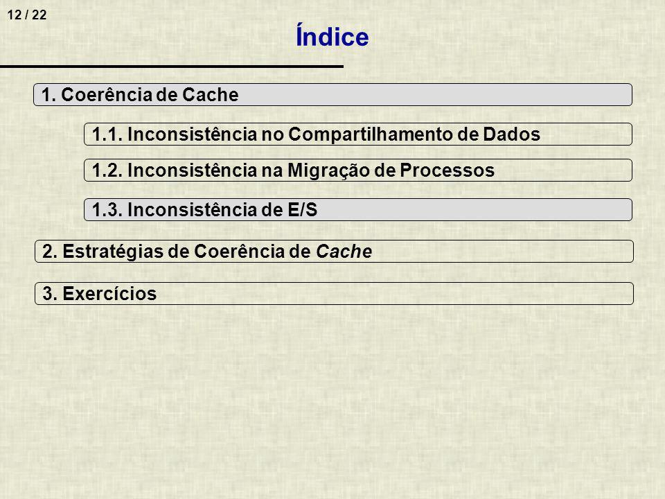 12 / 22 Índice 1. Coerência de Cache 2. Estratégias de Coerência de Cache 1.1. Inconsistência no Compartilhamento de Dados 1.2. Inconsistência na Migr