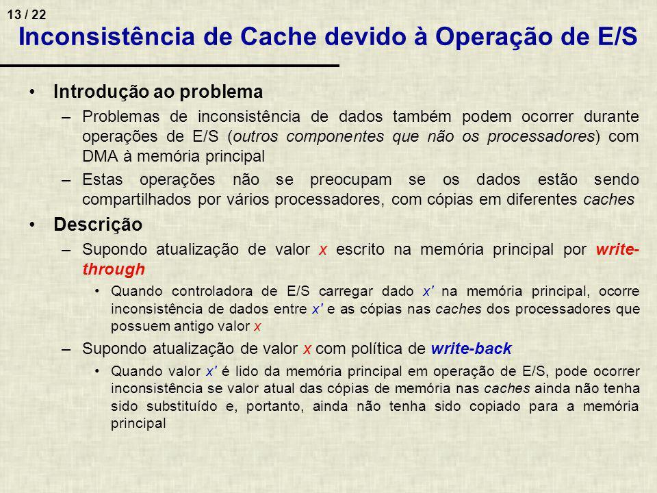 13 / 22 Introdução ao problema –Problemas de inconsistência de dados também podem ocorrer durante operações de E/S (outros componentes que não os proc