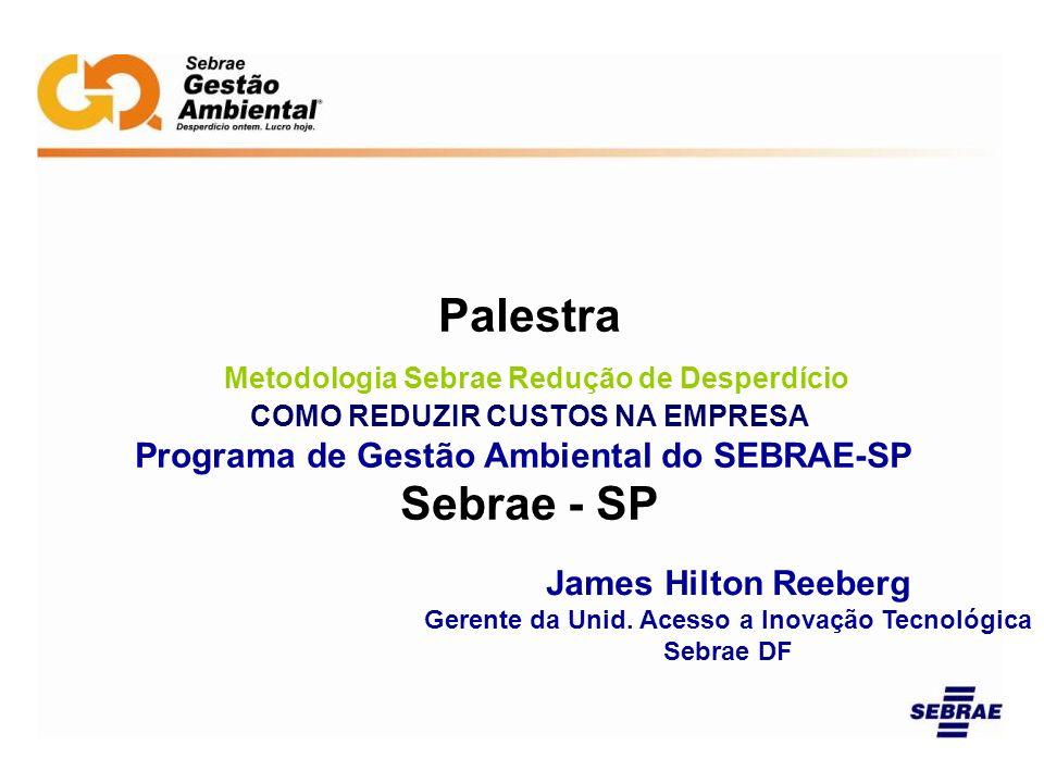 Palestra Metodologia Sebrae Redução de Desperdício COMO REDUZIR CUSTOS NA EMPRESA Programa de Gestão Ambiental do SEBRAE-SP Sebrae - SP James Hilton R