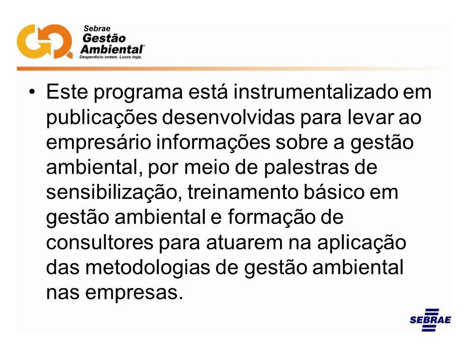 Este programa está instrumentalizado em publicações desenvolvidas para levar ao empresário informações sobre a gestão ambiental, por meio de palestras