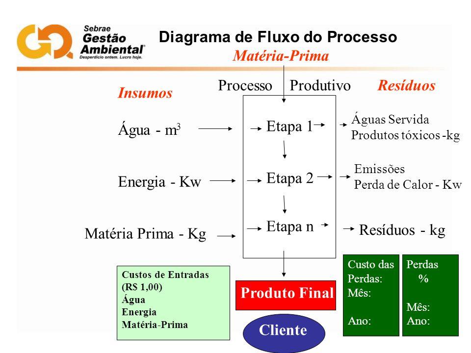 Diagrama de Fluxo do Processo Matéria-Prima Insumos Água - m 3 Energia - Kw Matéria Prima - Kg Etapa 1 Etapa 2 Etapa n ResíduosProcesso Produtivo Prod