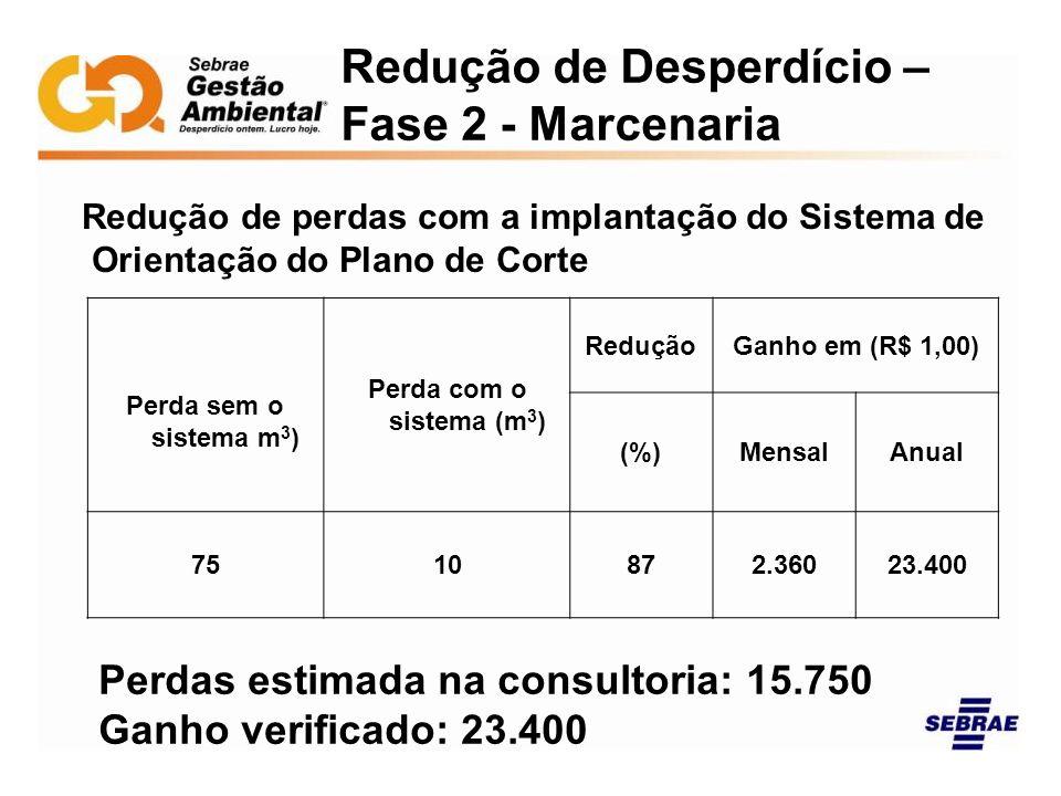 Redução de Desperdício – Fase 2 - Marcenaria Redução de perdas com a implantação do Sistema de Orientação do Plano de Corte Perda sem o sistema m 3 )
