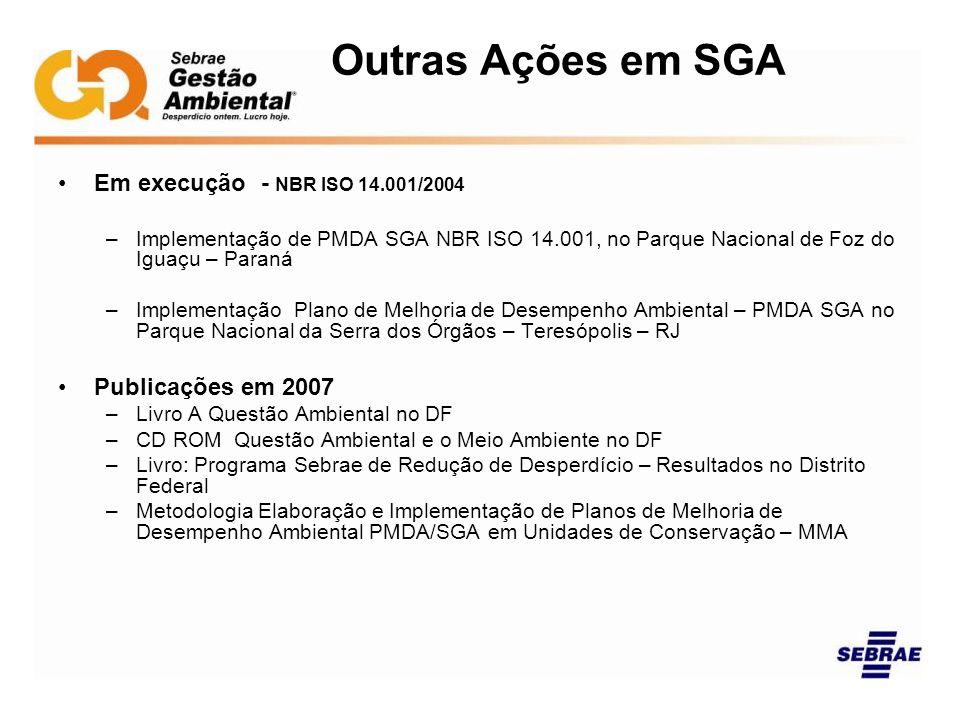 Outras Ações em SGA Em execução - NBR ISO 14.001/2004 –Implementação de PMDA SGA NBR ISO 14.001, no Parque Nacional de Foz do Iguaçu – Paraná –Impleme