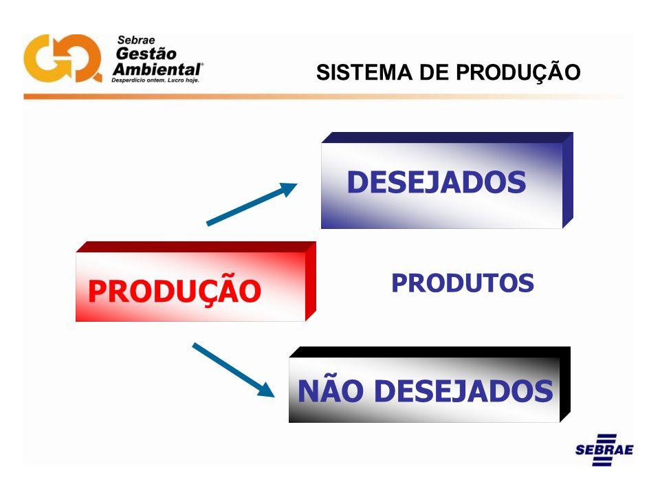 PRODUÇÃO PRODUTOS DESEJADOS NÃO DESEJADOS SISTEMA DE PRODUÇÃO