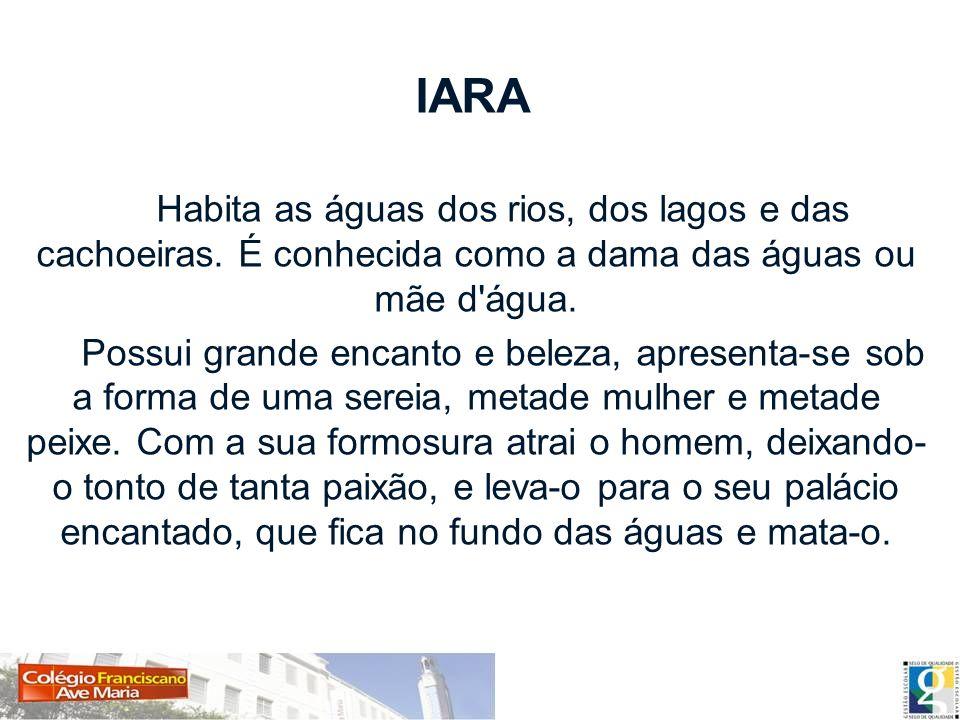 IARA Habita as águas dos rios, dos lagos e das cachoeiras. É conhecida como a dama das águas ou mãe d'água. Possui grande encanto e beleza, apresenta-