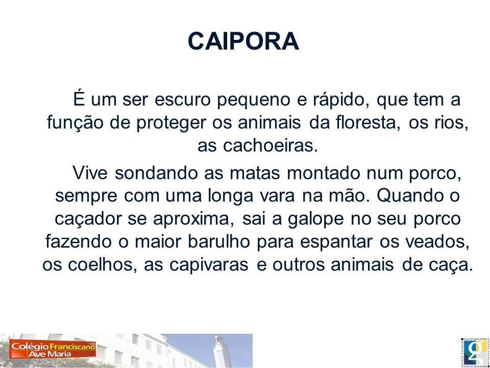 CAIPORA É um ser escuro pequeno e rápido, que tem a função de proteger os animais da floresta, os rios, as cachoeiras. Vive sondando as matas montado
