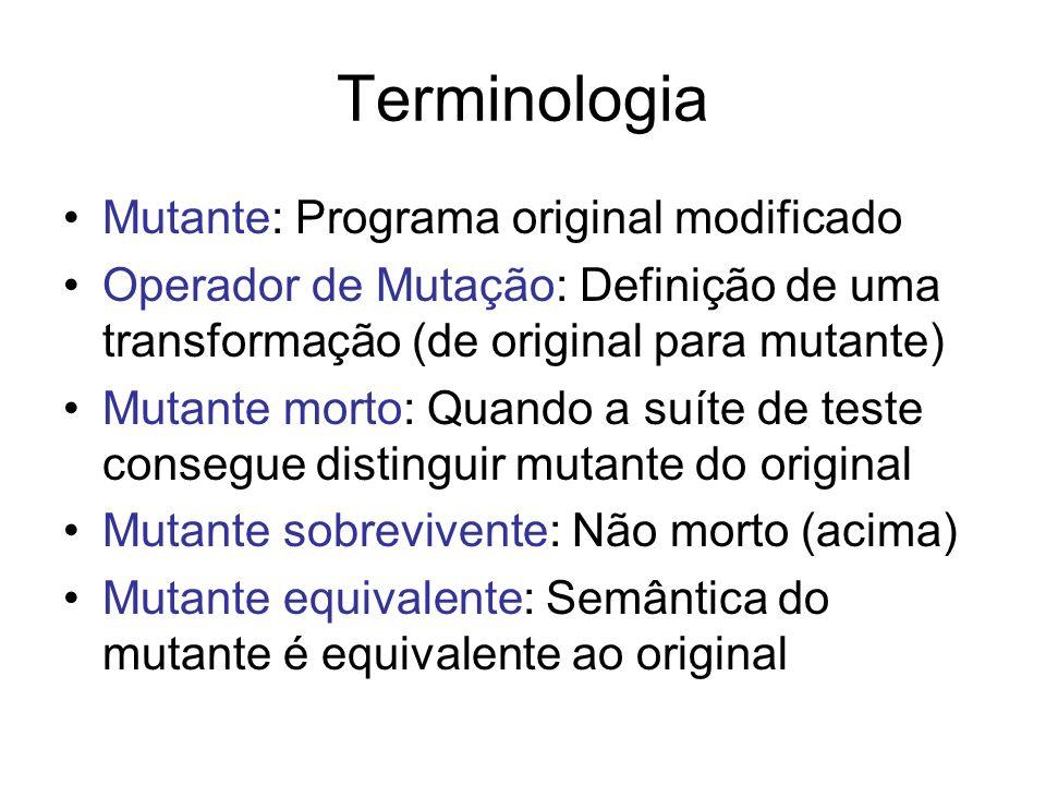 Terminologia Mutante: Programa original modificado Operador de Mutação: Definição de uma transformação (de original para mutante) Mutante morto: Quand