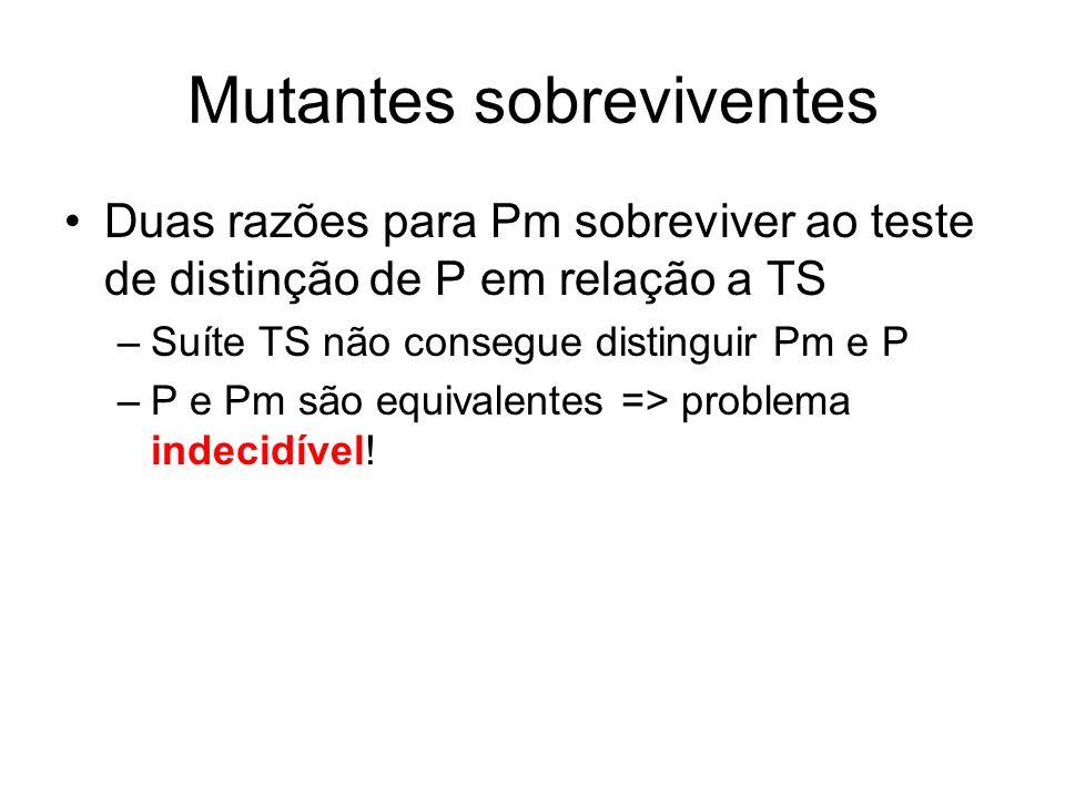 Mutantes sobreviventes Duas razões para Pm sobreviver ao teste de distinção de P em relação a TS –Suíte TS não consegue distinguir Pm e P –P e Pm são