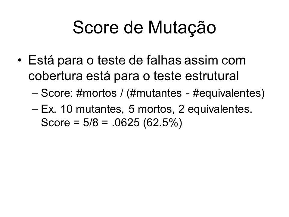 Score de Mutação Está para o teste de falhas assim com cobertura está para o teste estrutural –Score: #mortos / (#mutantes - #equivalentes) –Ex. 10 mu