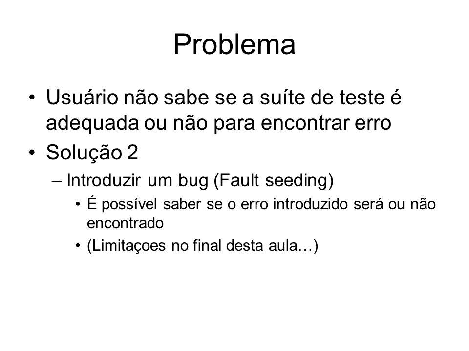 Problema Usuário não sabe se a suíte de teste é adequada ou não para encontrar erro Solução 2 –Introduzir um bug (Fault seeding) É possível saber se o