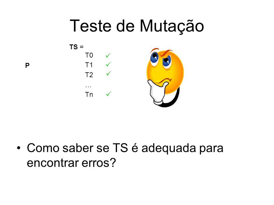 Teste de Mutação P T0 T1 T2 … Tn Como saber se TS é adequada para encontrar erros? TS =