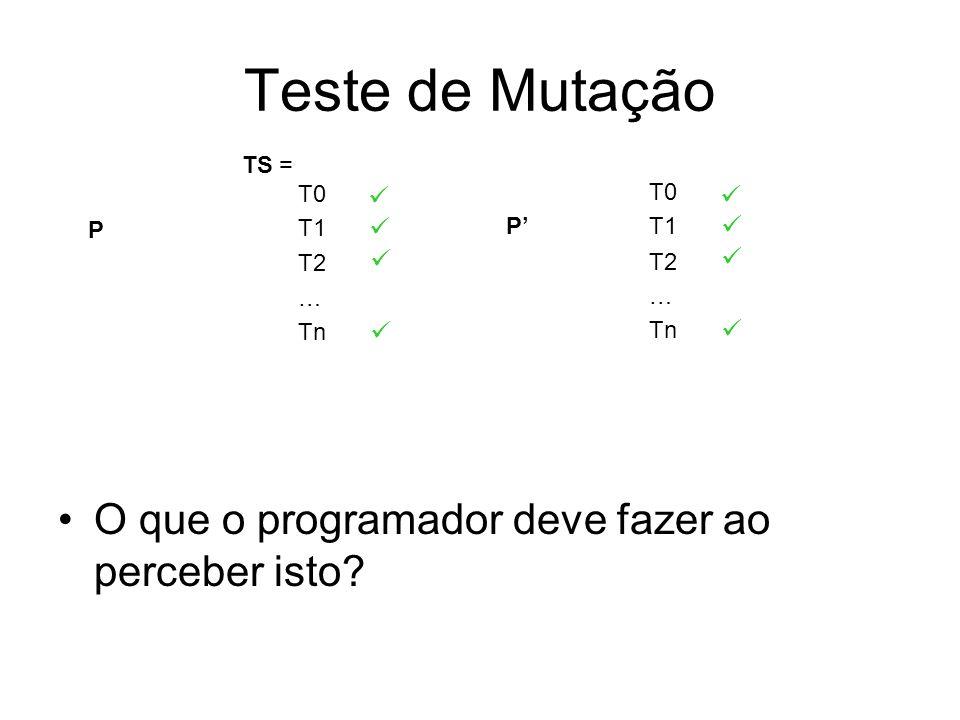 Teste de Mutação O que o programador deve fazer ao perceber isto? P T0 T1 T2 … Tn P T0 T1 T2 … Tn TS =