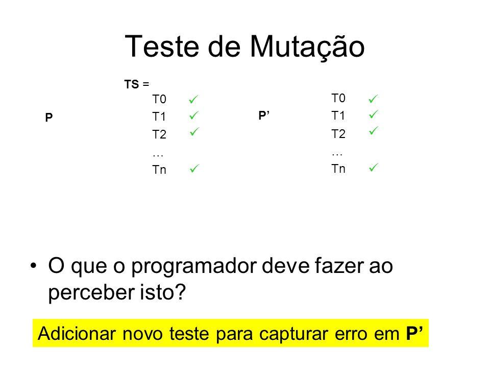 Teste de Mutação O que o programador deve fazer ao perceber isto? P T0 T1 T2 … Tn P T0 T1 T2 … Tn TS = Adicionar novo teste para capturar erro em P