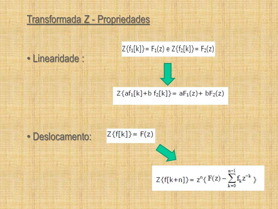 Transformada Z - Propriedades Linearidade : Linearidade : Deslocamento: Deslocamento: