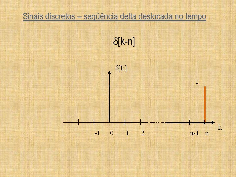 Definição de Sistemas Discretos regra (mapeamento) associando um seqüência de entrada u[k] com uma seqüência de saída y[k] regra (mapeamento) associando um seqüência de entrada u[k] com uma seqüência de saída y[k] y[k] = f[u[k]] y[k] = f[u[k]] recursivo recursivo não recursivo não recursivo y[k]= 2u[k] +3u[k-1] y[k] = y[k-1] +u[k].