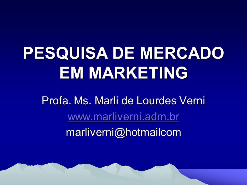 PESQUISA DE MERCADO EM MARKETING Profa. Ms. Marli de Lourdes Verni www.marliverni.adm.br marliverni@hotmailcom