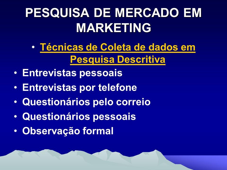PESQUISA DE MERCADO EM MARKETING Técnicas de Coleta de dados em Pesquisa Descritiva Entrevistas pessoais Entrevistas por telefone Questionários pelo c