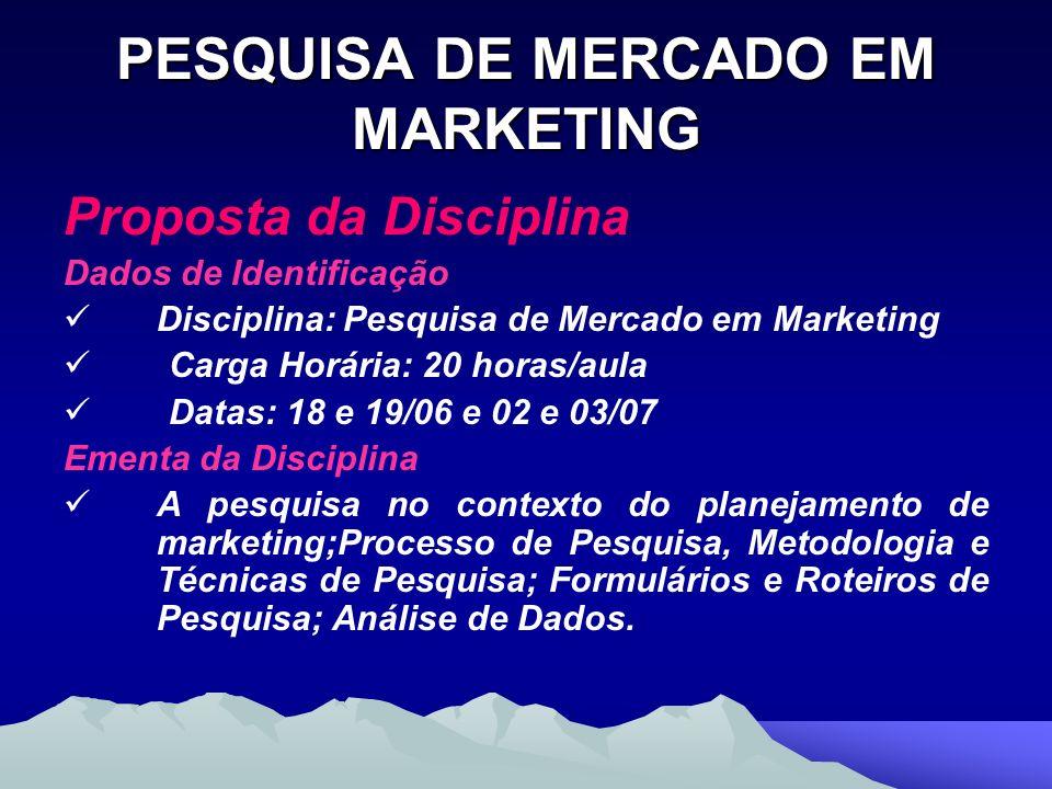 PESQUISA DE MERCADO EM MARKETING Proposta da Disciplina Dados de Identificação Disciplina: Pesquisa de Mercado em Marketing Carga Horária: 20 horas/au