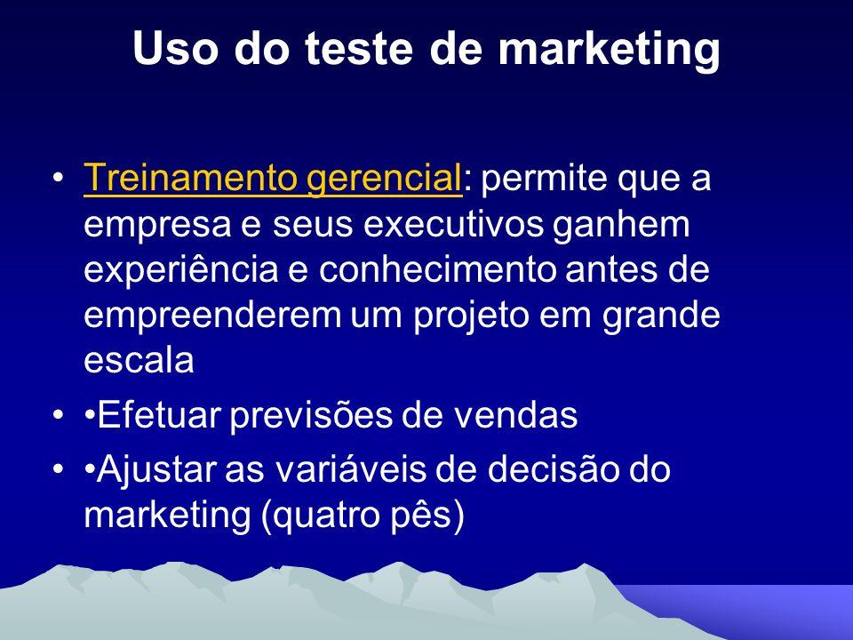 Uso do teste de marketing Treinamento gerencial: permite que a empresa e seus executivos ganhem experiência e conhecimento antes de empreenderem um pr