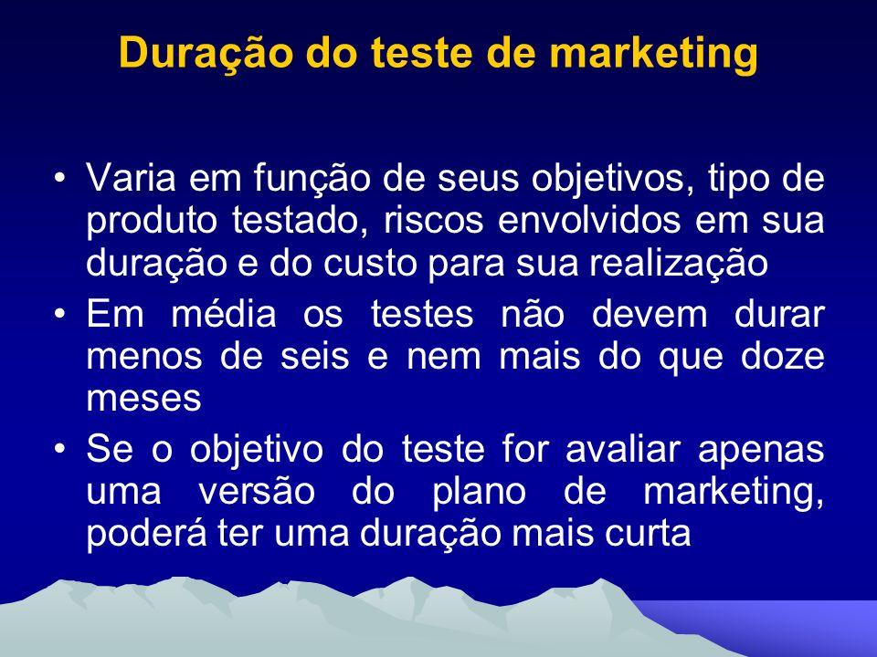 Duração do teste de marketing Varia em função de seus objetivos, tipo de produto testado, riscos envolvidos em sua duração e do custo para sua realiza