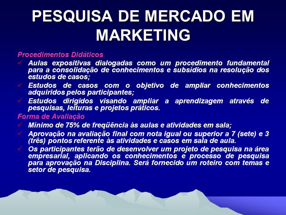 PESQUISA DE MERCADO EM MARKETING Procedimentos Didáticos Aulas expositivas dialogadas como um procedimento fundamental para a consolidação de conhecim