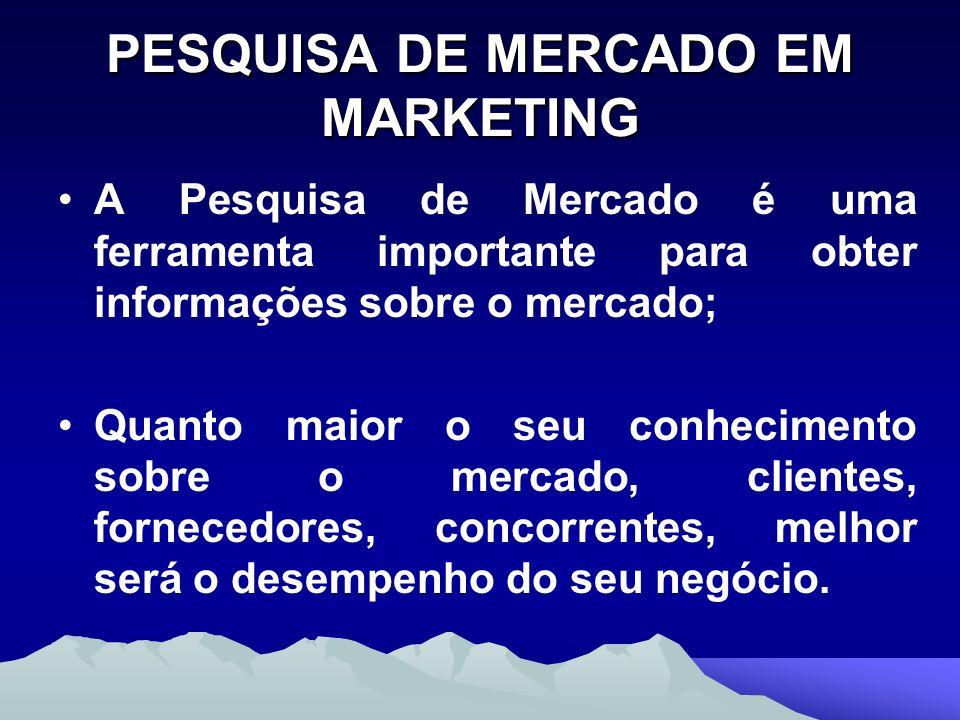 PESQUISA DE MERCADO EM MARKETING A Pesquisa de Mercado é uma ferramenta importante para obter informações sobre o mercado; Quanto maior o seu conhecim