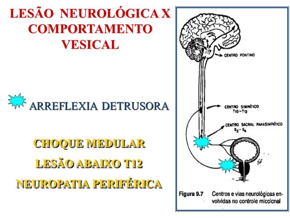 LESÃO NEUROLÓGICA X COMPORTAMENTO VESICAL ARREFLEXIA DETRUSORA CHOQUE MEDULAR LESÃO ABAIXO T12 NEUROPATIA PERIFÉRICA CHOQUE MEDULAR LESÃO ABAIXO T12 N