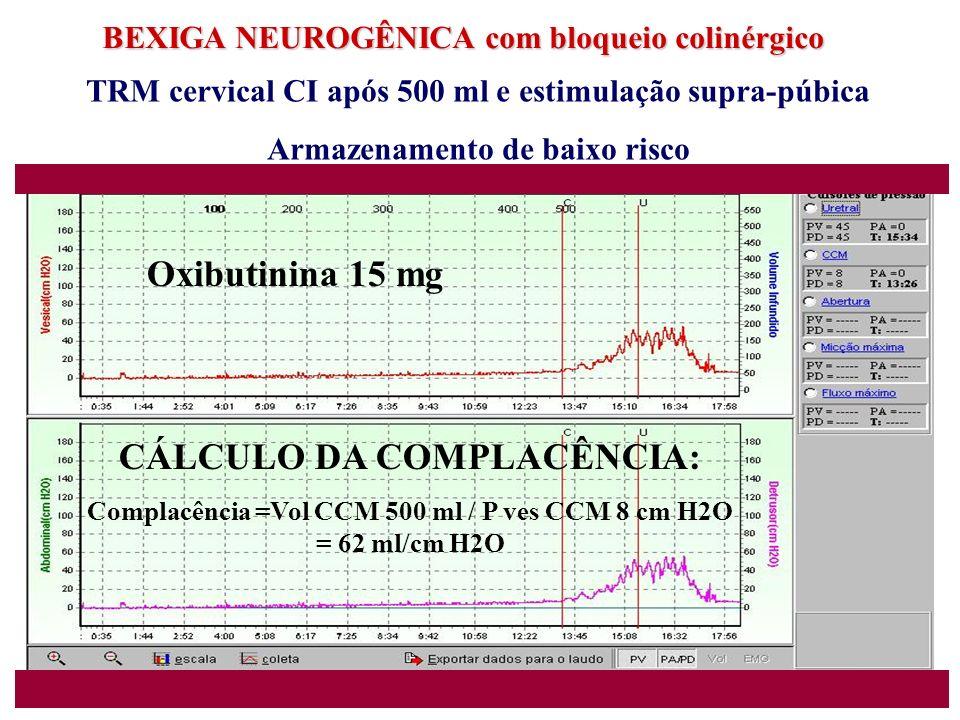BEXIGA NEUROGÊNICA com bloqueio colinérgico TRM cervical CI após 500 ml e estimulação supra-púbica Armazenamento de baixo risco CÁLCULO DA COMPLACÊNCI