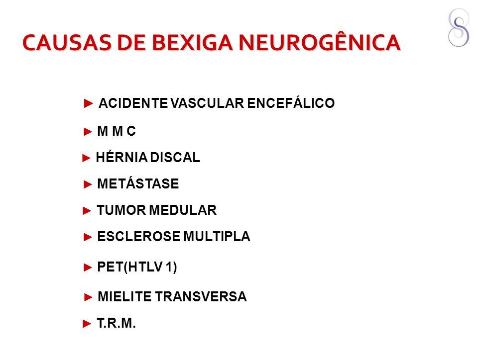 ACIDENTE VASCULAR ENCEFÁLICO CAUSAS DE BEXIGA NEUROGÊNICA M M C HÉRNIA DISCAL METÁSTASE TUMOR MEDULAR ESCLEROSE MULTIPLA PET(HTLV 1) MIELITE TRANSVERS