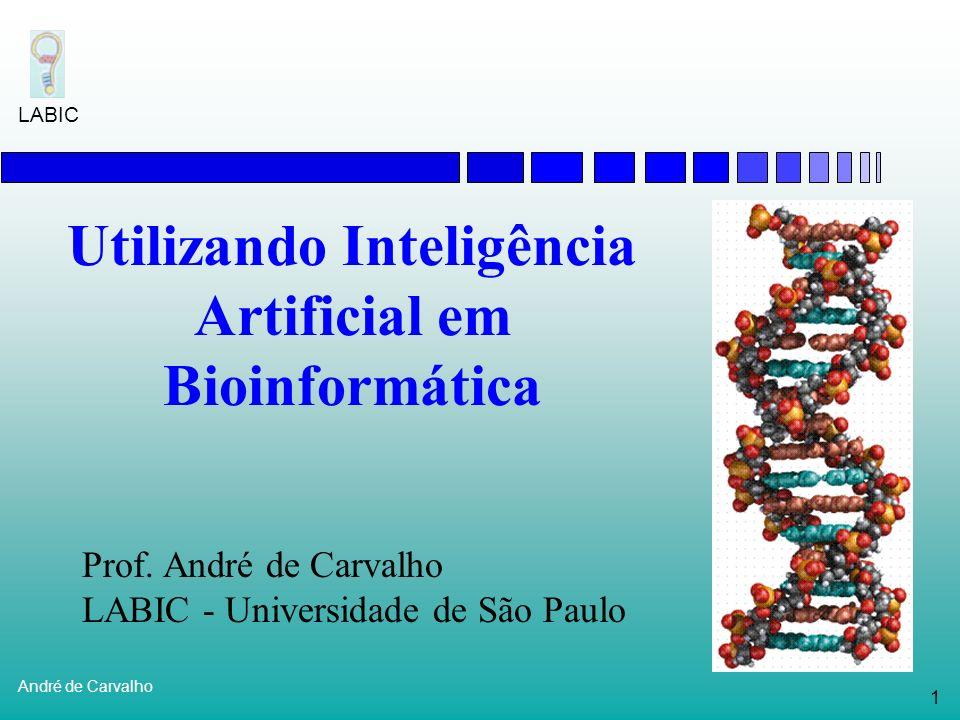 11 André de Carvalho LABIC Biologia Molecular Estudo das células e moléculas Em particular: genoma dos organismos Estruturas principais: Genes Cromossomos DNA RNA Proteínas nucleotídeos aminoácidos Expressão Gênica