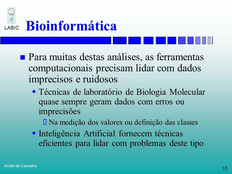 9 André de Carvalho LABIC Bioinformática Ênfase está se deslocando progressivamente da acumulação de dados para a sua interpretação Com os seqüenciame