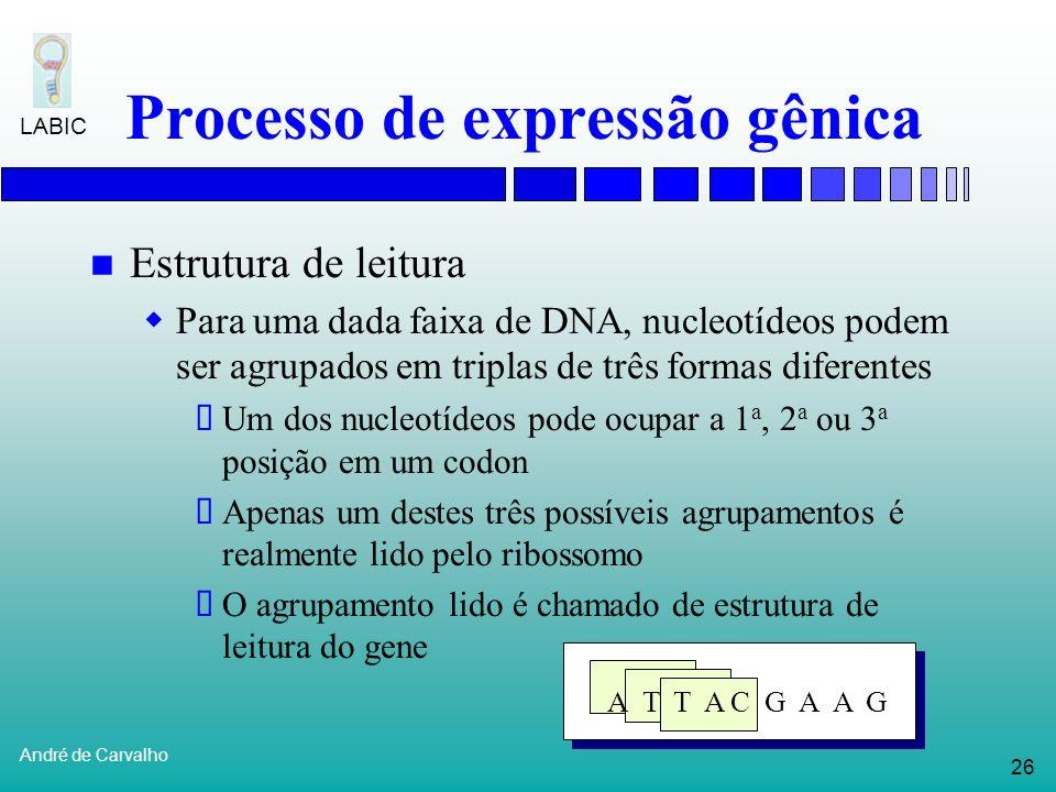 25 André de Carvalho LABIC Processo de expressão gênica T G C A G C T C C G G A C T C C A T... RNA Polimerase promotor Transcrição A C G U C G A G G C