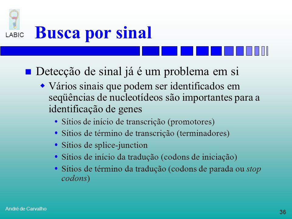 35 André de Carvalho LABIC Busca por sinal É importante não apenas entender a função de cada gene Mas também os mecanismos que regulam a expressão do